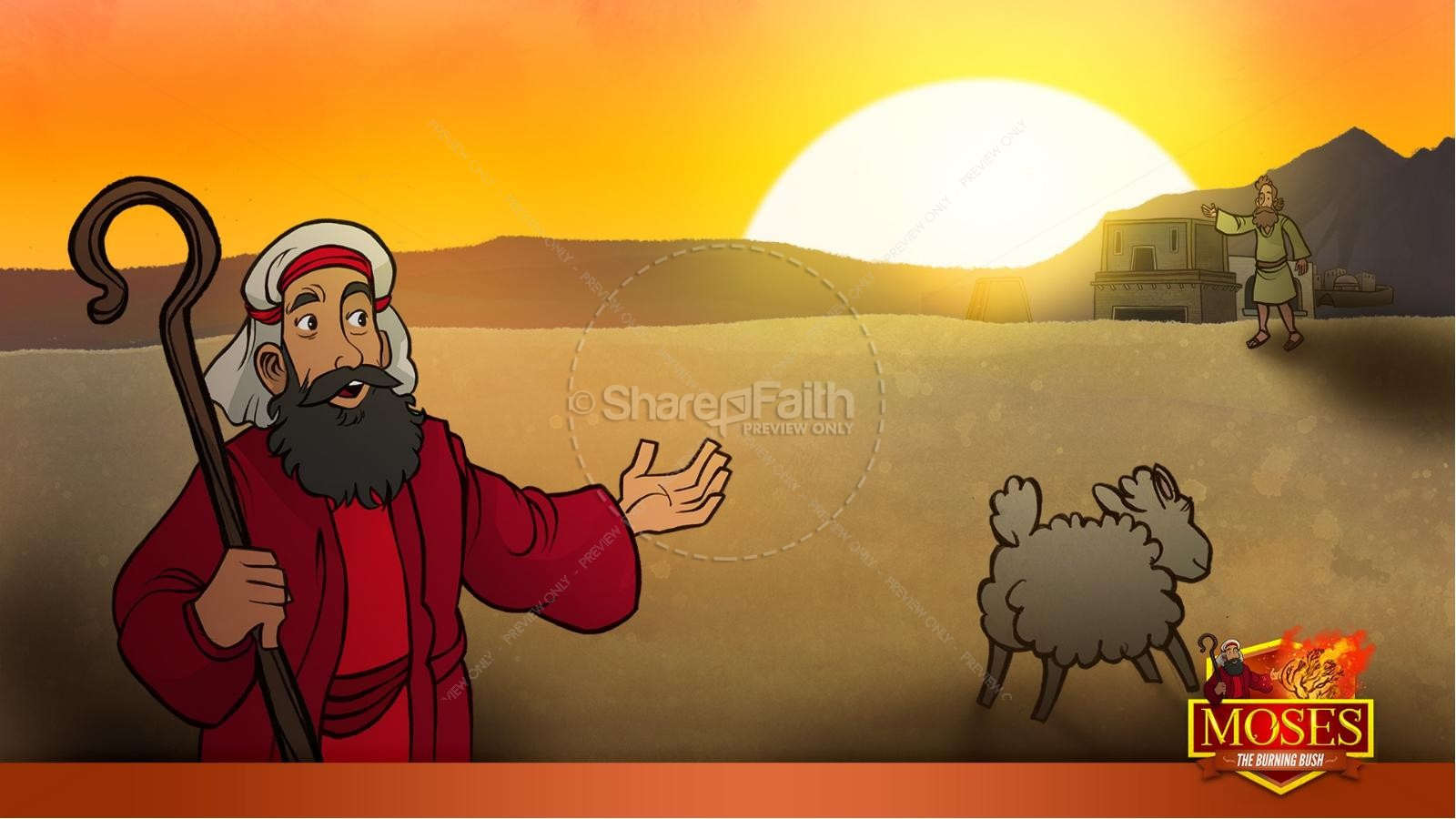 Exodus 3 Moses and the Burning Bush Kids Bible Stories | slide 34