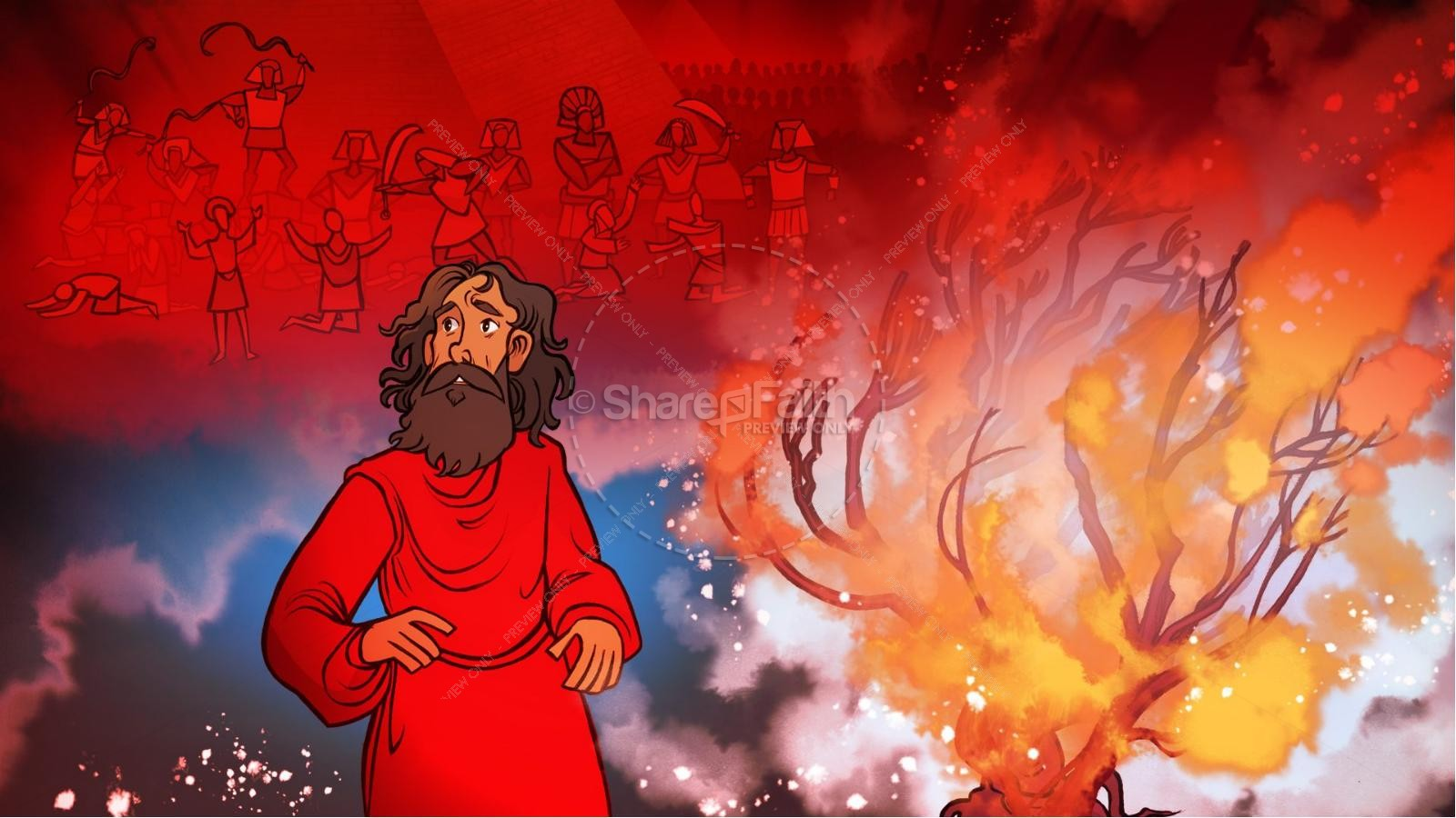 Exodus 3 Moses and the Burning Bush Kids Bible Stories | slide 5