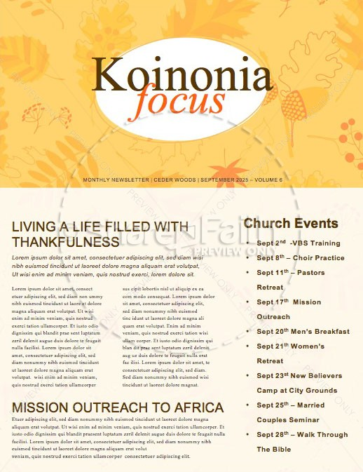 Harvest Party Church Newsletter Template | page 1