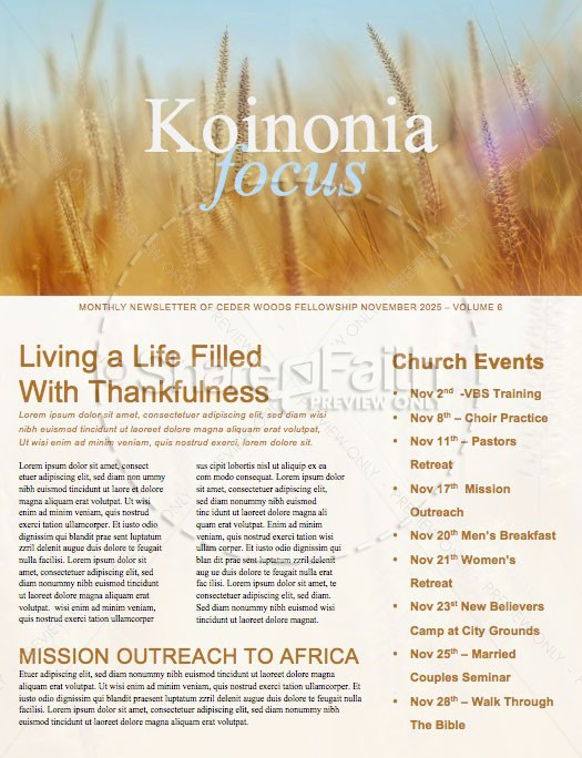 Thanksgiving Harvest Church Newsletter Template