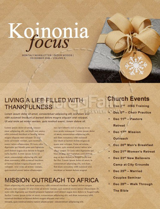 God's Gift Of Love Christmas Newsletter