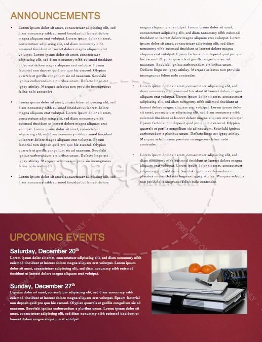Christmas Church Services Newsletter Template