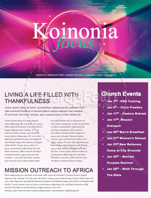 Happy New Year Modern Church Newsletter | page 1