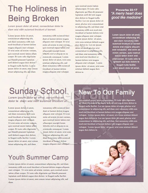 Jehovah Jireh The Lord Provides Church Newsletter Template