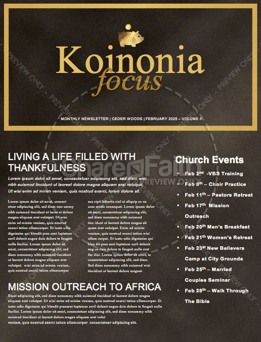 Financial Freedom Church Newsletter Template