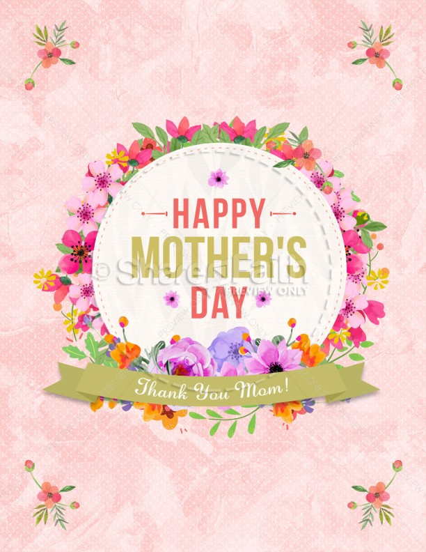 Happy Mother's Day Thank You Mom Flyer Template | page 1