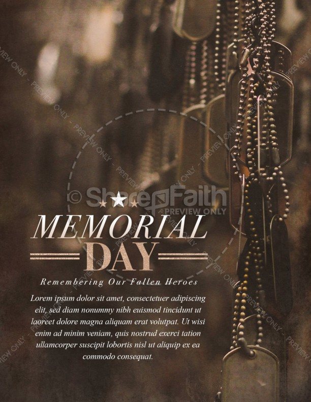memorial day dog tags church flyer template template flyer templates