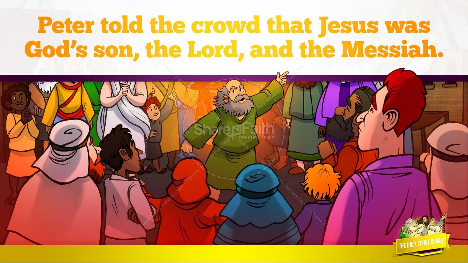 Acts 2 The Holy Spirit Comes Kids Bible Story | slide 28