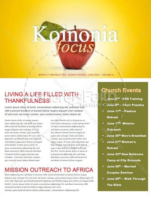 Truth & Consequences Church Newsletter Template | page 1