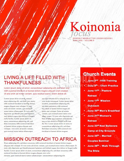 Canada Day Church Newsletter Template | page 1