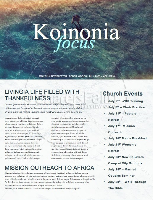 Walk On Water Church Newsletter Template