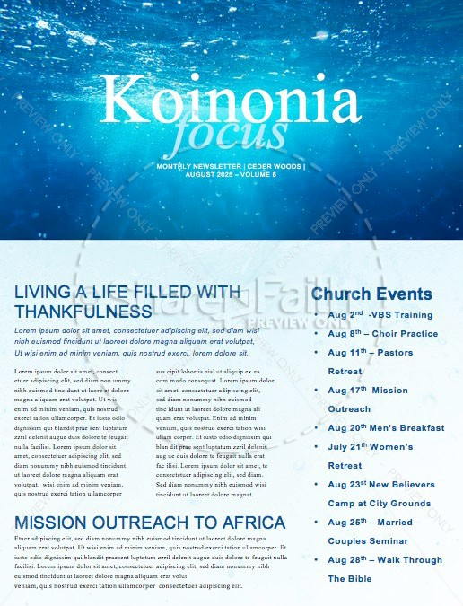 Baptism Sunday Church Newsletter | page 1