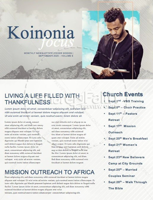Men's Group Bible Study Newsletter   page 1