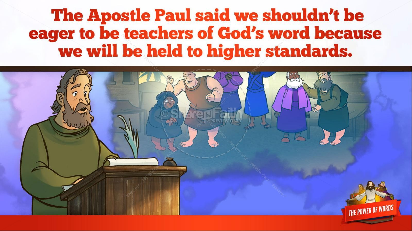 James 3 The Power of Words Kids Bible Story | slide 12