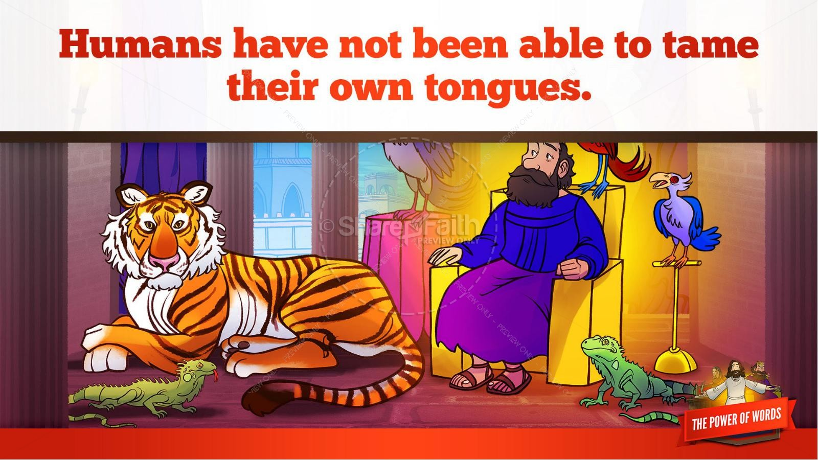James 3 The Power of Words Kids Bible Story | slide 28
