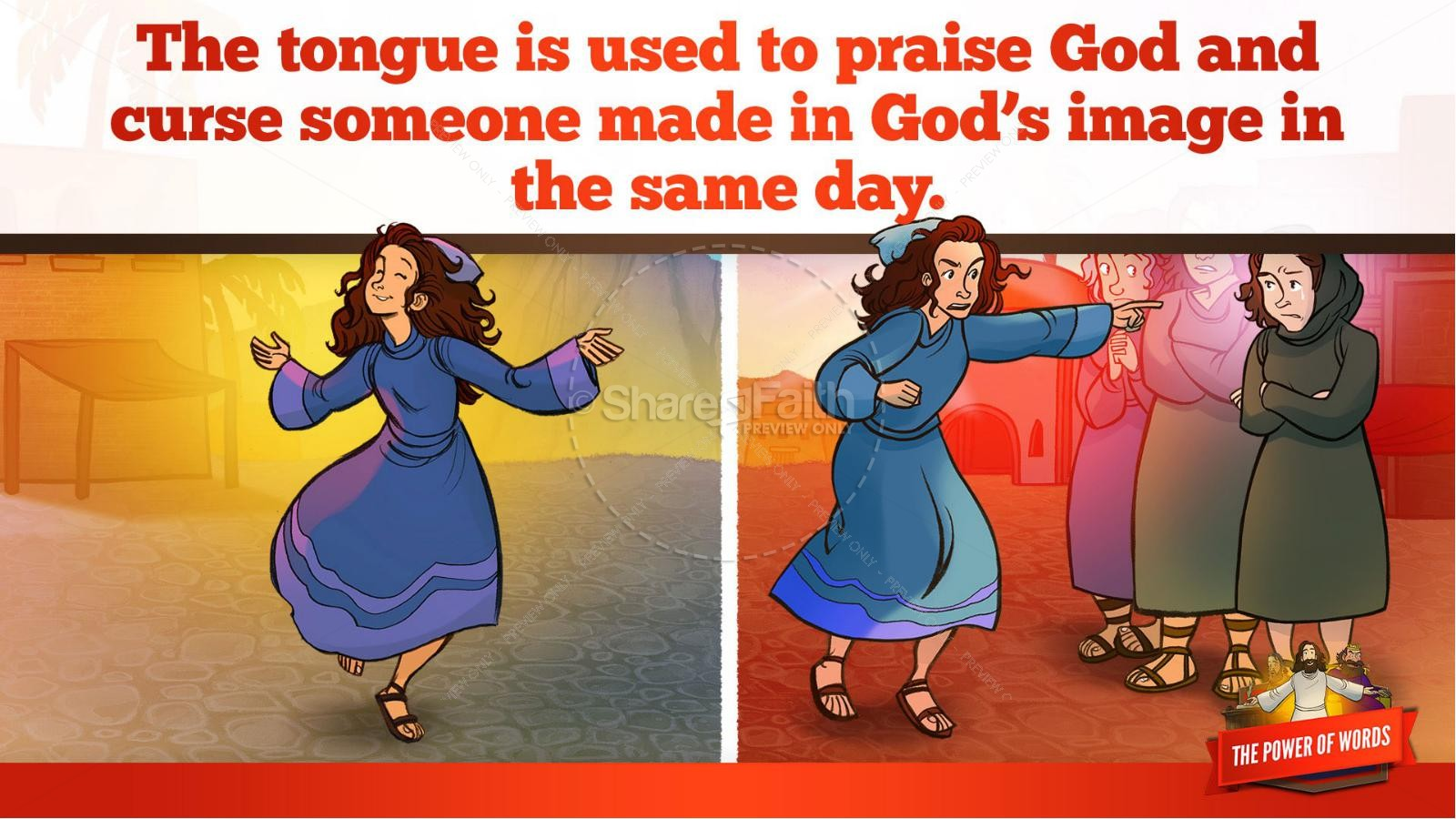 James 3 The Power of Words Kids Bible Story | slide 32