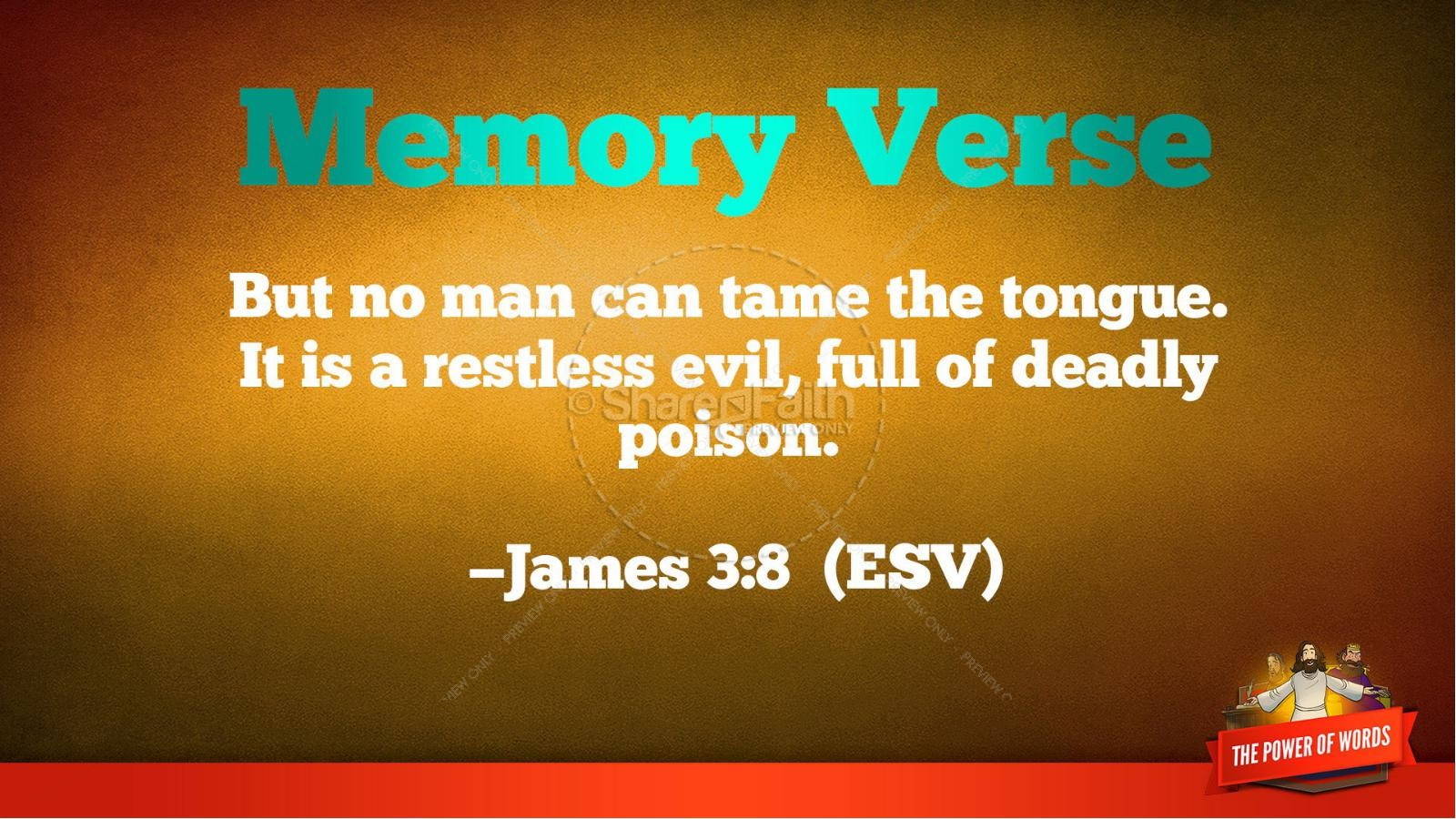 James 3 The Power of Words Kids Bible Story | slide 39
