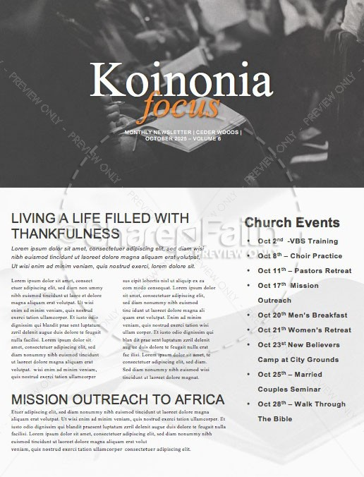 We Love Our Pastors Service Newsletter Template | page 1
