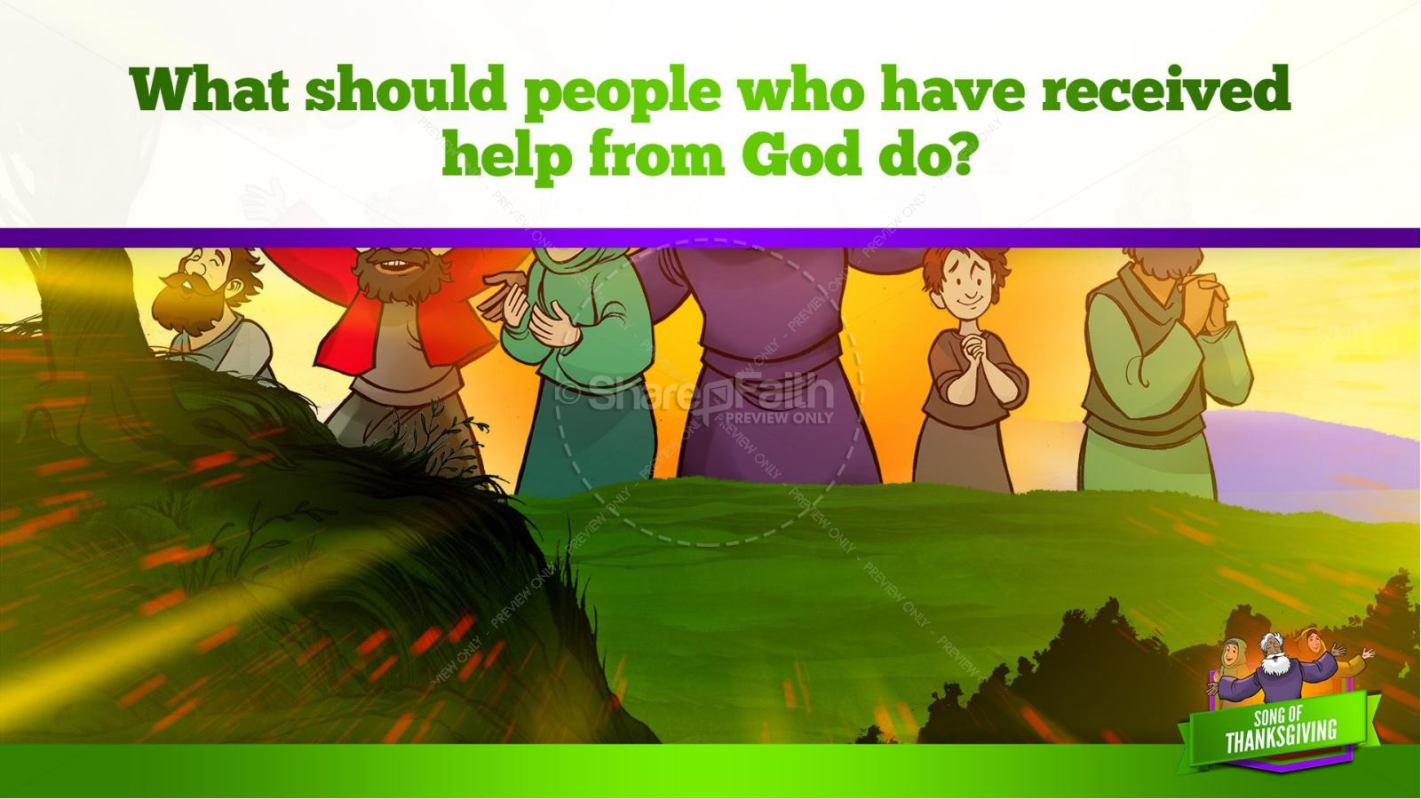 Psalm 107 Song of Thanksgiving Kids Bible Story | slide 11
