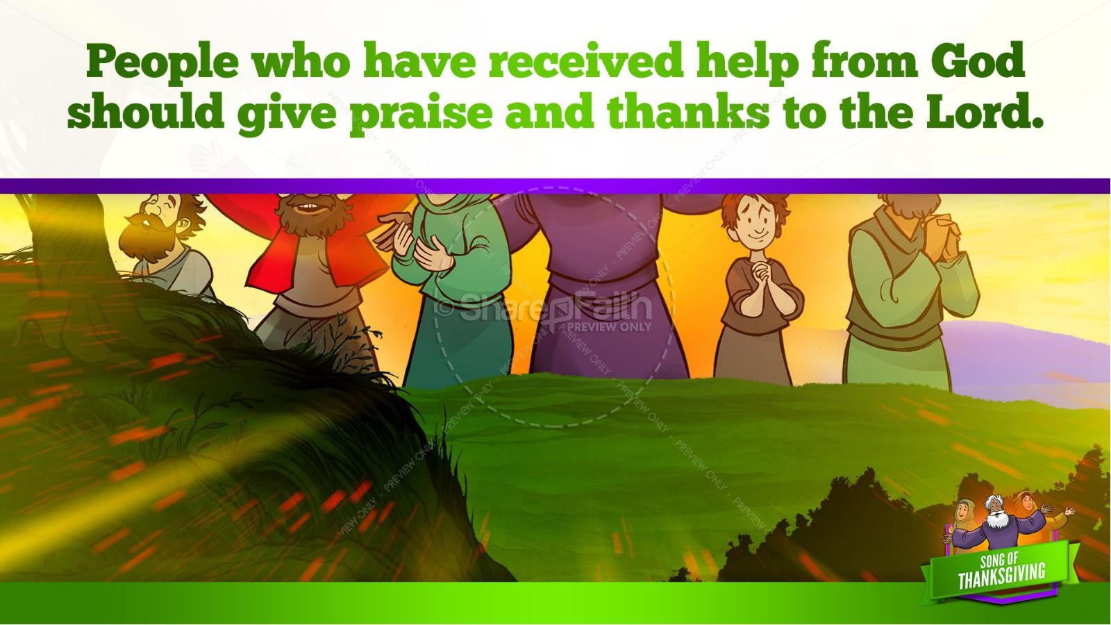 Psalm 107 Song of Thanksgiving Kids Bible Story | slide 12