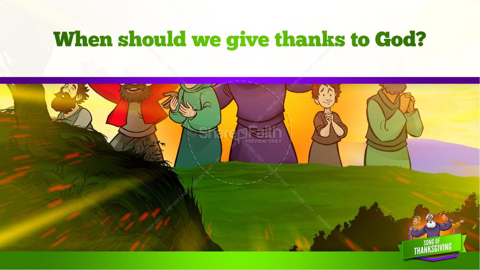 Psalm 107 Song of Thanksgiving Kids Bible Story | slide 13