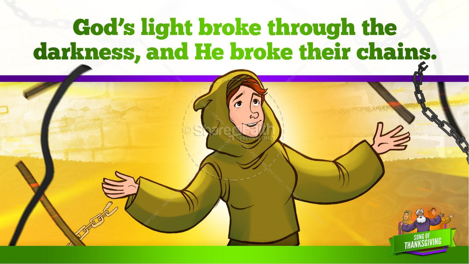 Psalm 107 Song of Thanksgiving Kids Bible Story | slide 20