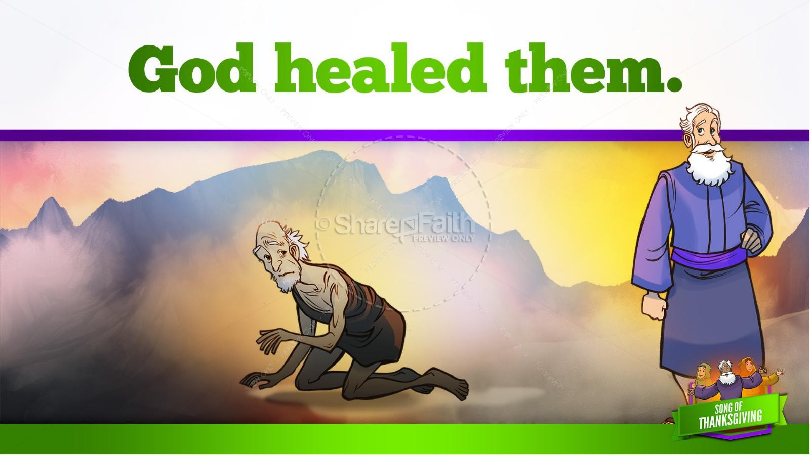Psalm 107 Song of Thanksgiving Kids Bible Story | slide 24