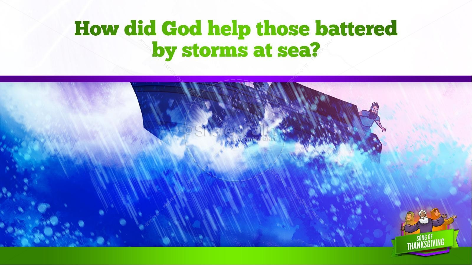 Psalm 107 Song of Thanksgiving Kids Bible Story | slide 27