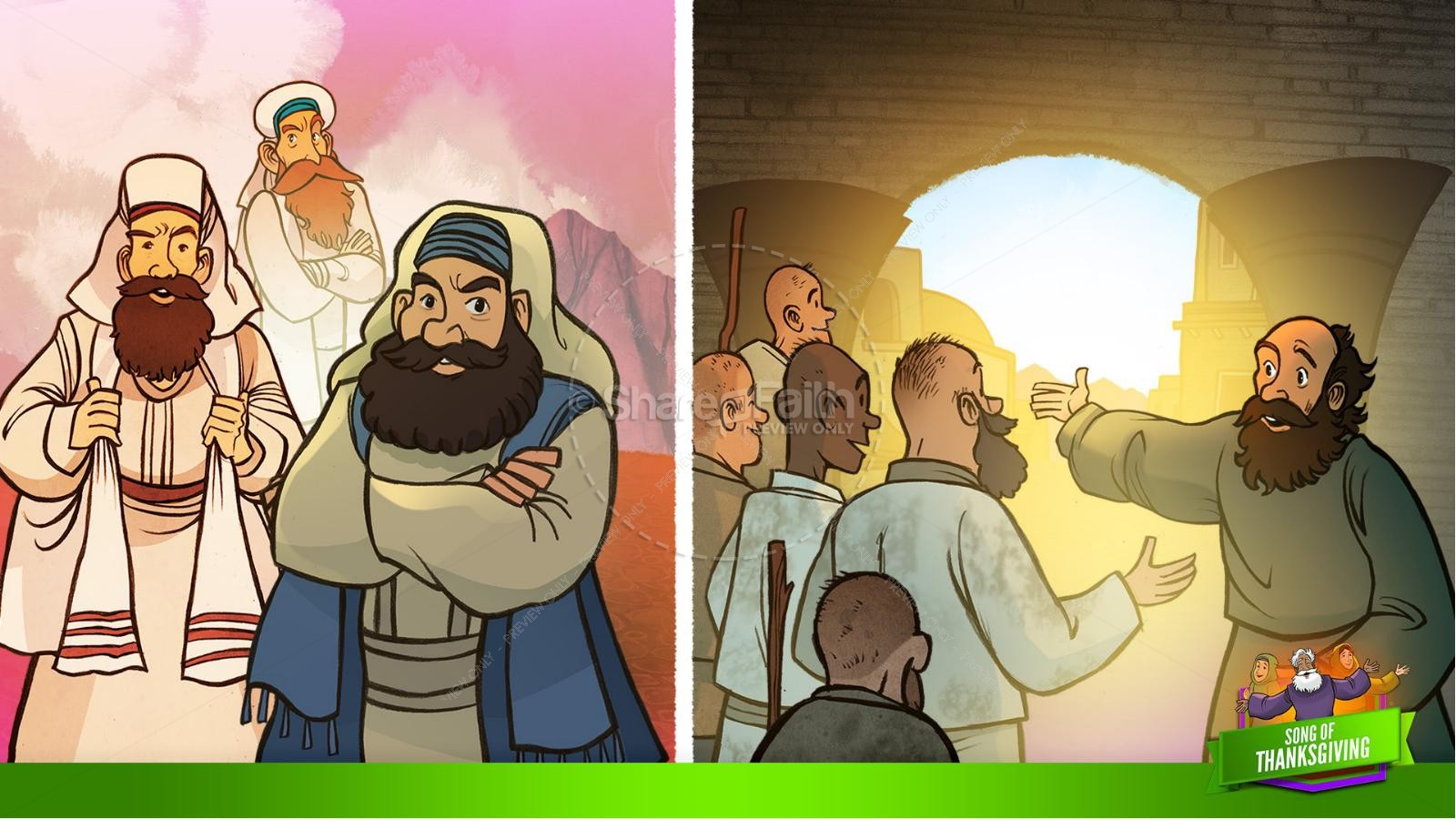 Psalm 107 Song of Thanksgiving Kids Bible Story | slide 34