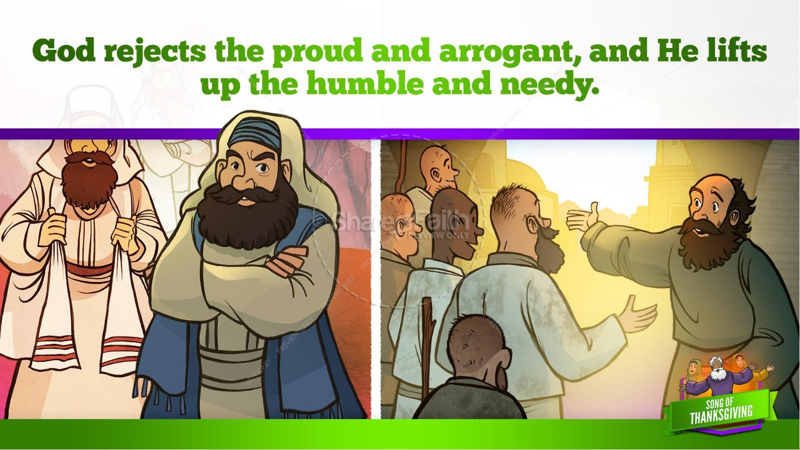 Psalm 107 Song of Thanksgiving Kids Bible Story | slide 36