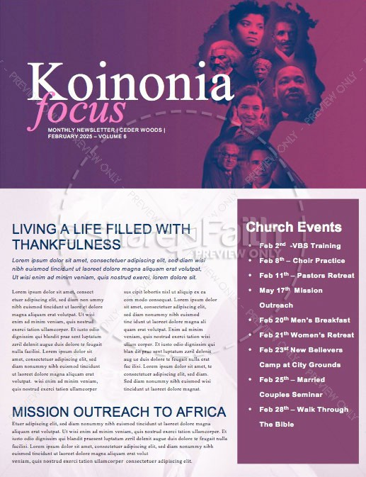 Black History Month Church Service Newsletter | page 1