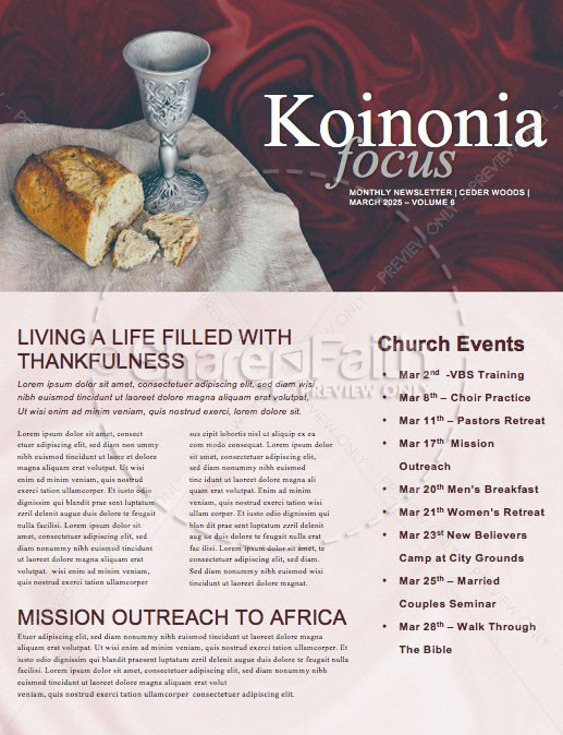 Communion Sunday Newsletter Template | page 1
