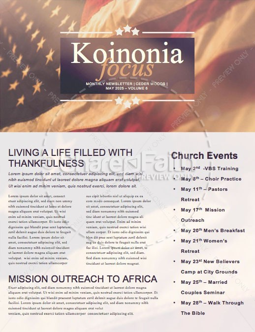 American Flag Memorial Day Service Newsletter | page 1