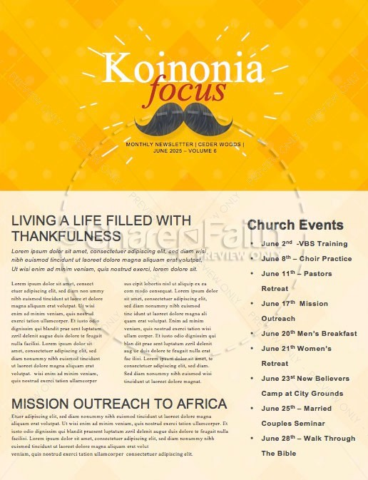 Father's Day Mustache Church Newsletter | page 1