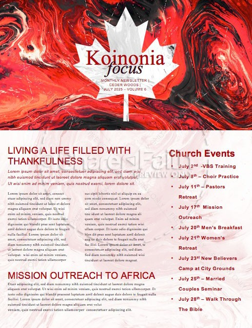 Canada Day Church Newsletter Design | page 1