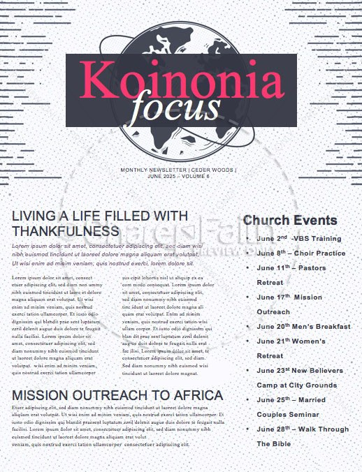 Missions Sunday Church Service Newsletter   page 1
