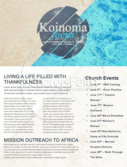 Raised To Life Baptism Church Newsletter | page 1