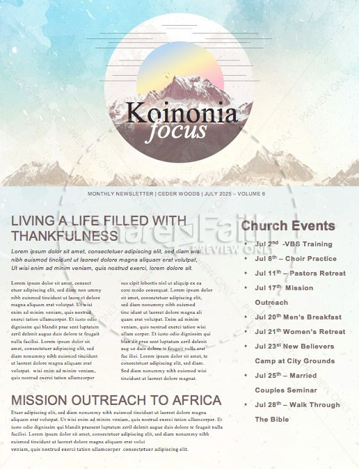 Peaks & Valleys Church Newsletter Template   page 1