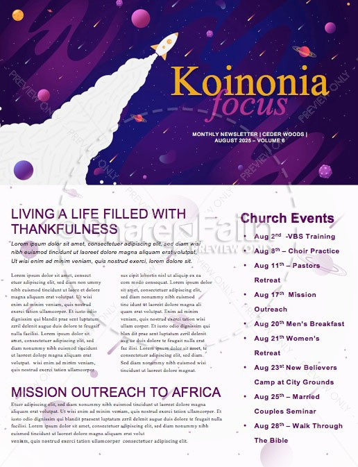 Fall Ministry Launch Church Newsletter Template | page 1