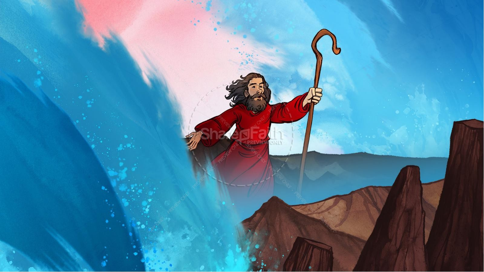 Exodus 12 Moses and The Red Sea Crossing Kids Bible Story | slide 6