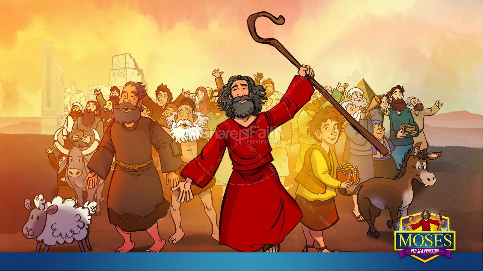 Exodus 12 Moses and The Red Sea Crossing Kids Bible Story | slide 9