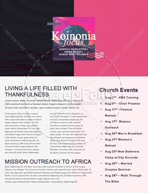 Night of Worship Church Event Newsletter   page 1