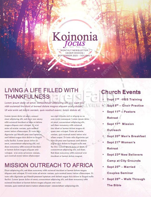 Fall Welcome Church Newsletter Template   page 1