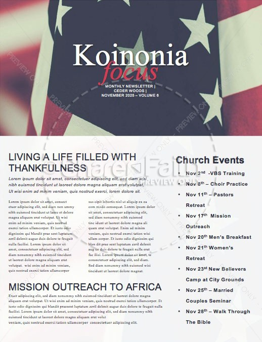 Veterans Day Honor Church Newsletter | page 1