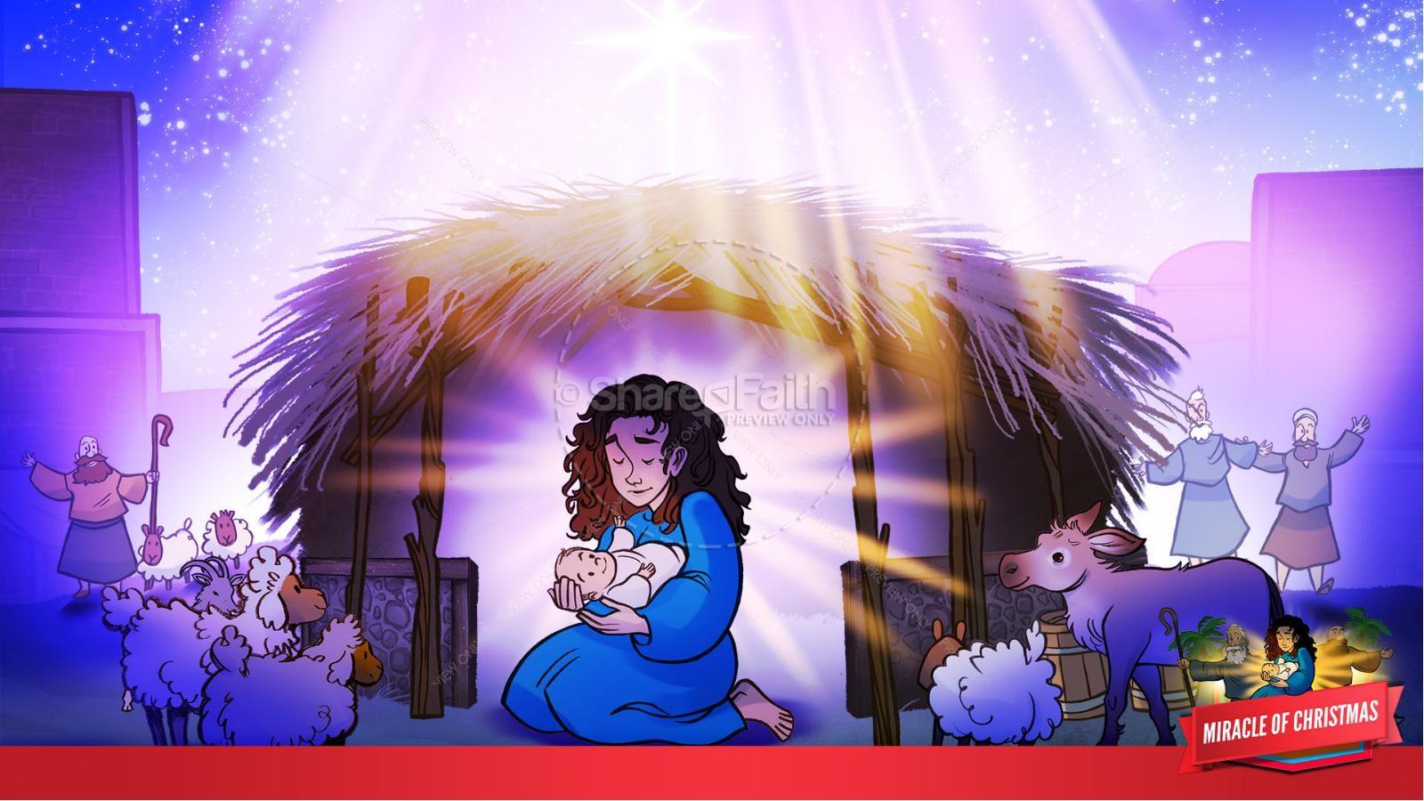 Luke 2 The Miracle of Christmas Kids Bible Story | slide 34