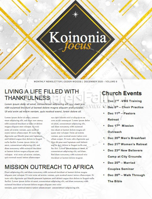 Christmas Eve Celebrate Together Church Newsletter | page 1