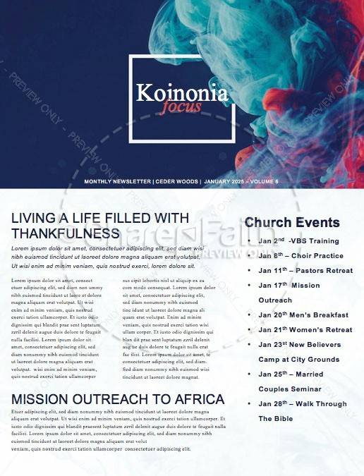 Best Year Ever Church Newsletter | page 1