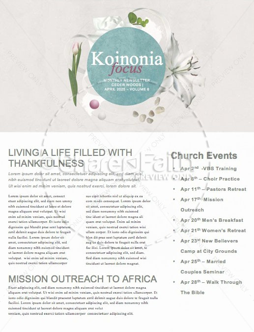 Easter Sunday Lily Church Newsletter | page 1
