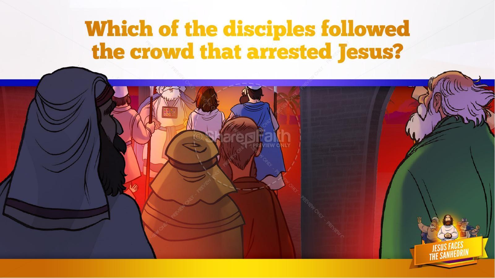 Matthew 26 Jesus Before the Sanhedrin Kids Bible Story | slide 11