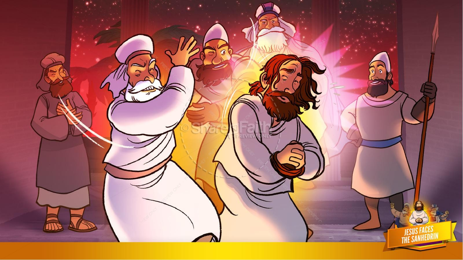Matthew 26 Jesus Before the Sanhedrin Kids Bible Story | slide 34